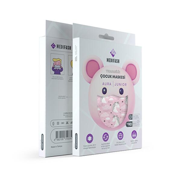 MediFash Aura Junior-Unicorn TSE K599 Belgeli %90 Bakteri Filtresi 3 Katmanlı Fiber Kumaş Ayarlanabilir Kulak Aparatı Burun Telli Tekli Paket 60 Derecede Yıkanabilir Çocuk Maskesi