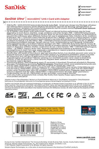 Sandisk SDSQUAR-016G-GN6MN Ultra Micro SDHC