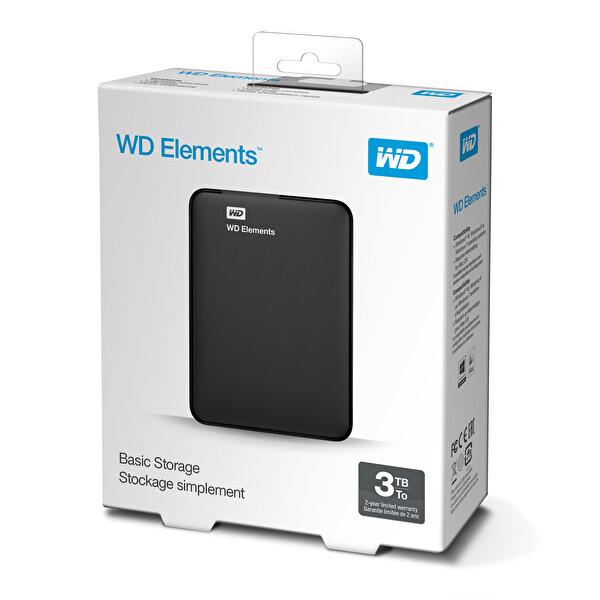 "WD Elements Intellipower 3TB 2.5"" Taşınabilir Harddisk Siyah"