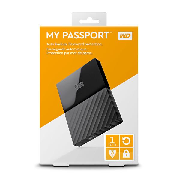 """Wd My Passport 1TB 2.5"""" WDBYNN0010BBK Taşınabilir Harddisk Siyah"""