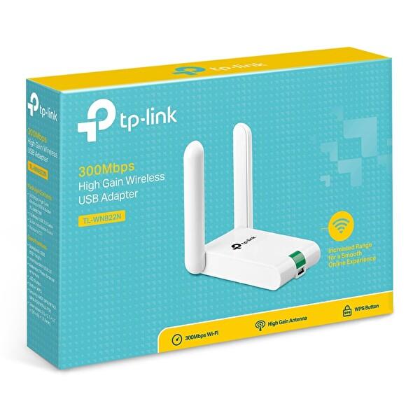 TP-Link TL-WN822N 300 Mbps N Kablosuz 2x3dBi Antenli Yüksek Kazanımlı USB Adaptör