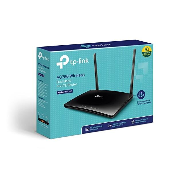 TP-Link  Mr200 750 Mbps Ac Kablosuz 802.11 Ac/A/B/G/N Dual Band 3G/4G Lte Sım Kart Girişli Router