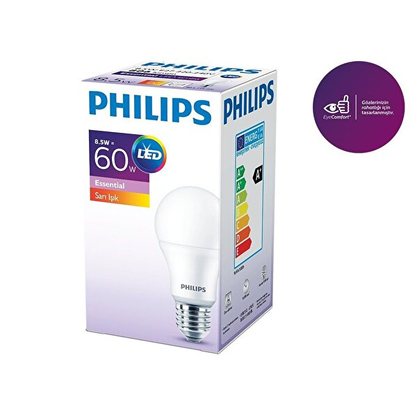 Philips Essential LEDBULB 8.5-60W Normal Duy Sarı Işık