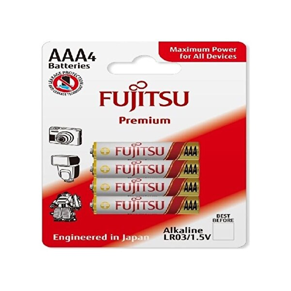 Fujitsu Premium LR03 Alkaline Kalem AAA Size Pil 4 Lü Blister