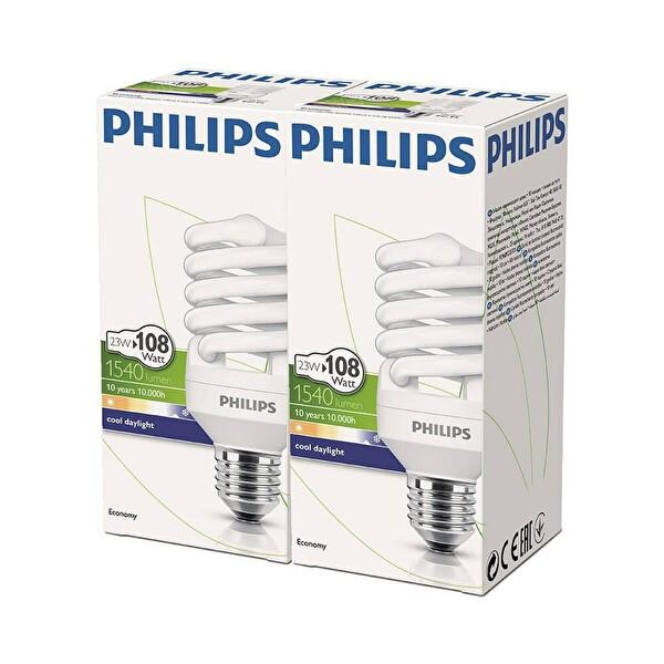 Philips Twister 23W E27 6500K Beyaz Işık 2'li Ekopaket
