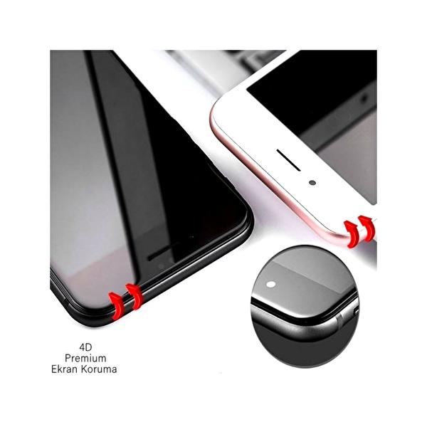 Dayanıklı Cam Ekran Koruma iPhone 8 (Ön-Arka) 4D Premium Beyaz