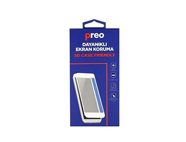 Preo Dayanıklı Ekran Koruma iPhone 8 (Ön-Arka) Full 5D Case Friendly Beyaz