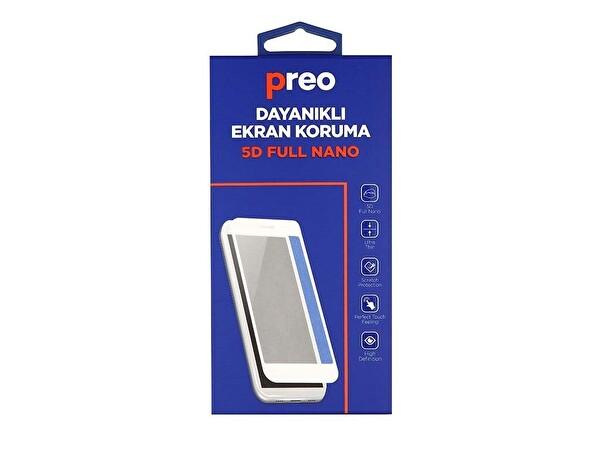 Preo Dayanıklı Ekran Koruma iPhone 8 Plus (Ön) 5D Full Nano Premium Beyaz