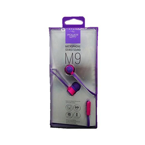 Powerway M9 Mor Mikrofonlu 3.5mm Stereo Silikonlu Kulak İçi Kulaklık