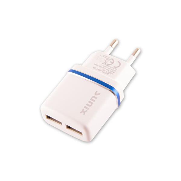 Sunix S-205 Çift Usb Girişli Ev Tipi Telefon&Tablet Şarj Cihazı & 1.2Mt Type-C Usb Kablo