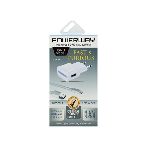 Powerway X-23 2000Mah Priz Şarj Cihazı& Micro Usb Beyaz Kablo