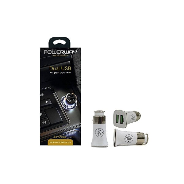 Powerway X-7 Beyaz 3.1 A Dual Usb Quick Car Charger