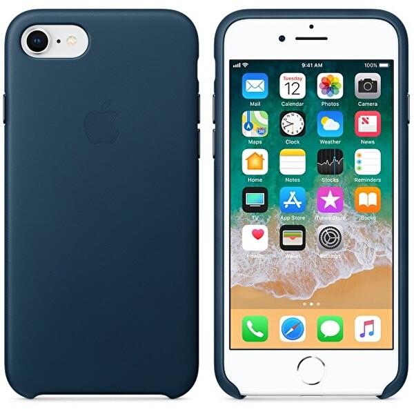 Apple MQHF2ZM/A iPhone 8 Deri Kılıf - Elektrik Mavisi
