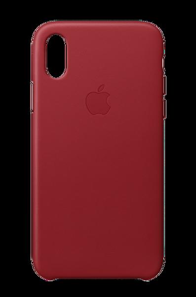 Apple MQTE2ZM/A iPhone X Deri Cep Telefonu Kılıfı - Kırmızı