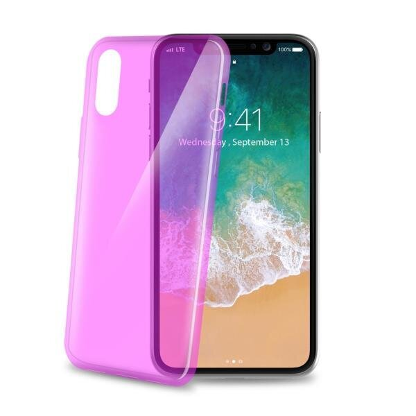 Celly Thın900Pk Ultrathın iPhone X Cep Telefonu Kılıfı Pembe