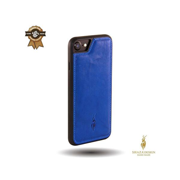 Sunix Shaza İPhone 6/7/8 Sahara %100 Deri El Yapımı Mavi Telefon Kılıfı