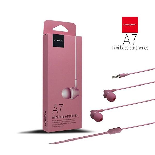 Powerway A7 Powerbass Mikrofonlu Pembe Kulak İçi Kulaklık