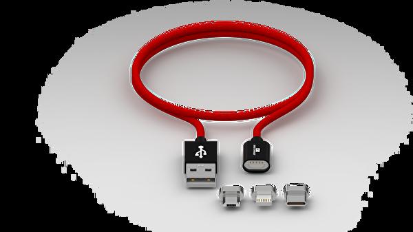 Swiss Charger Scc-10008 Manyetik Uçlu Ios Micro Usb Type-C Data Ve Şarj Kablosu 1.5M