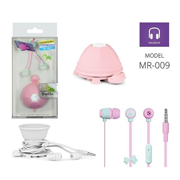 Powerway Mr-009 Turtle Yeşil/Pembe Mikrofonlu Silikon Kulaklık & Masaüstü Telefon Standı
