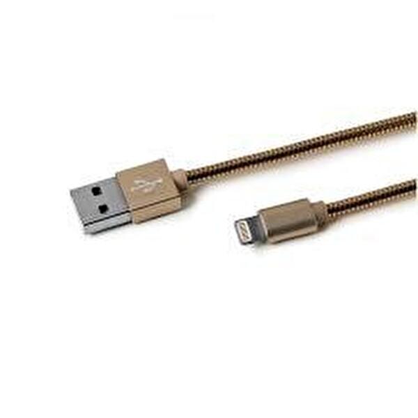 Celly Usb lıght Snakeds Metal Lightning Kablo Altın