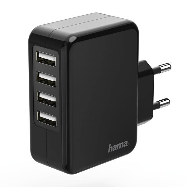 Hama HM.173676 4 Port 4800 mAh USB Seyahat Şarj Cihazı