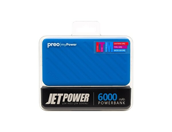 Preo My Power Jetpower A2 Mavi 6000 mAh Powerbank