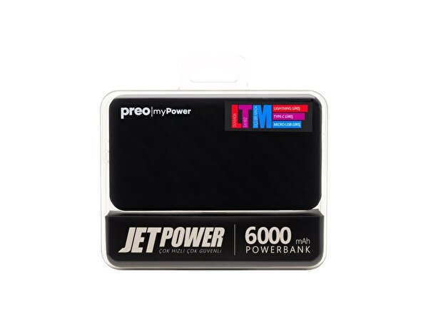 Preo My Power Jetpower A2 Siyah 6000 mAh Powerbank