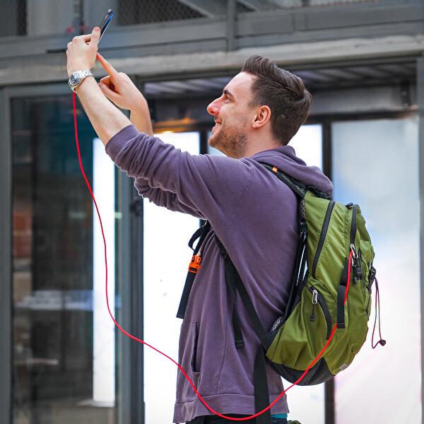 Anker Powerline + Lightning 0.9M Örgülü Apple Lisanslı Kırmızı iPhone&iPad Kablo-Taşıma Çantalı