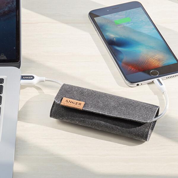 Anker Powerline + Örgülü 2M Lightning USB Kablo - Beyaz