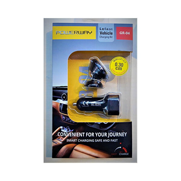Powerway GR-04 Siyah Manyetik Araç Telefon Tutucu & 2.1mAh  Çift Usb Araç Şarj Cihazı