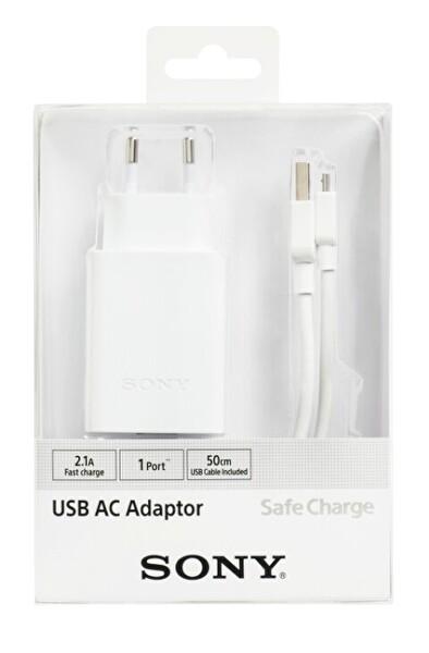 SONY AD2W 2.1MAH YÜKSEK HIZLI UNIVERSAL USB ŞARJ CİHAZI & 50 CM MICRO USB ŞARJ&DATA KABLOSU ( OUTLET )