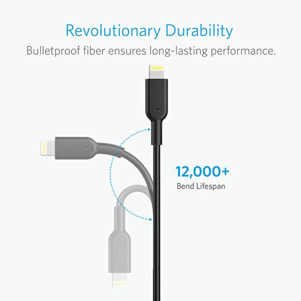 Anker Powerline II Lightning 0.9 Metre Siyah iPhone Şarj/Data Kablosu MFI Lisanslı