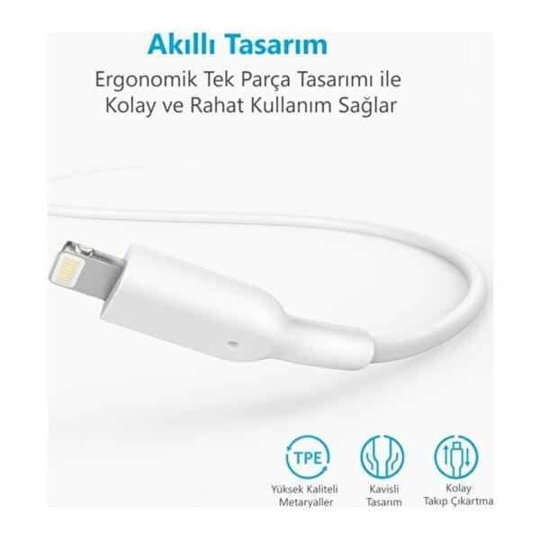 Anker Powerline II Lightning 0.9 Metre Beyaz iPhone Şarj/Data Kablosu MFI Lisanslı