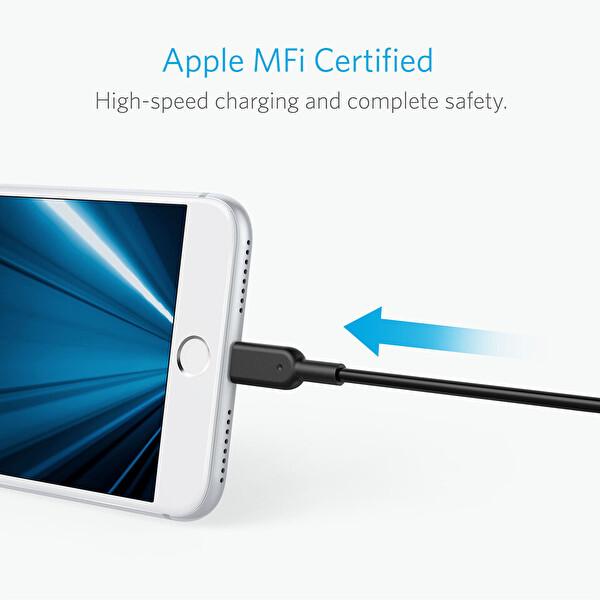 Anker Powerline II Lightning 3 M Siyah iPhone Şarj/Data Kablosu MFI Lisanslı