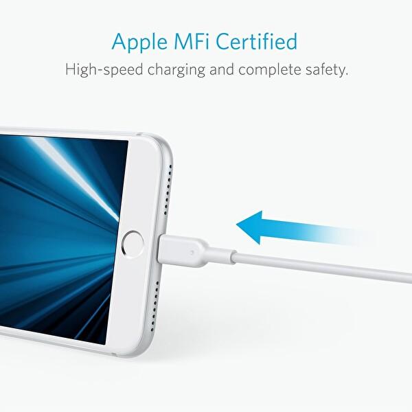 Anker Powerline II Lightning 3 Metre Beyaz iPhone Şarj/Data Kablosu MFI Lisanslı