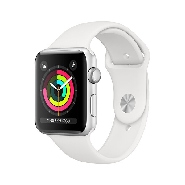 APPLEWATCH SERIES3 GPS, 42MM SILVER ALUMINIUM CASE WITH WHITE SPORT BAND(MTF22TU/A) ( OUTLET )