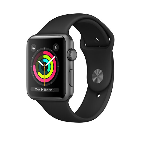APPLE WATCH SERIES 3 GPS, 42MM SPACE GREY ALUMINIUM CASE WITH BLACK SPORT BAND(MTF32TU/A) ( OUTLET )
