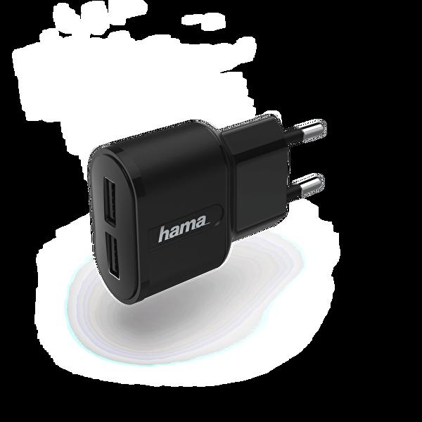 Hama HM.183227 2x USB 2.4 A Şarj Aleti Siyah