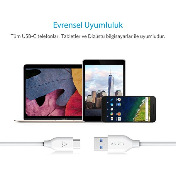 ANKER POWERLİNE USB-C TO USB 3.0 TYPE-C ŞARJ VE DATA KABLOSU 0.9 METRE - BEYAZ