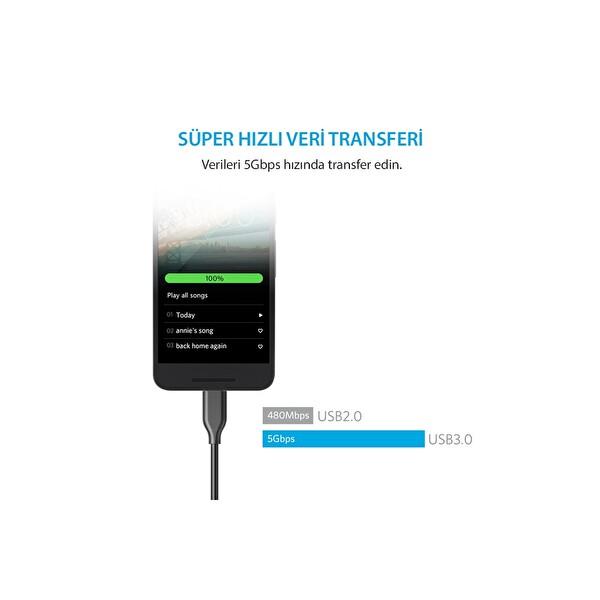 Anker Powerline Usb-C To Usb 3.0 Şarj Data Kablosu 0.9M Siyah Taşıma Çantalı
