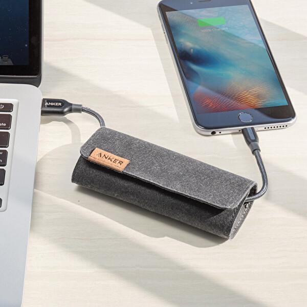 Anker Powerline+ Lightning 1.8M Örgülü Apple Lisanslı iPad/iPhone Kablo - Gri - Taşıma Çantalı