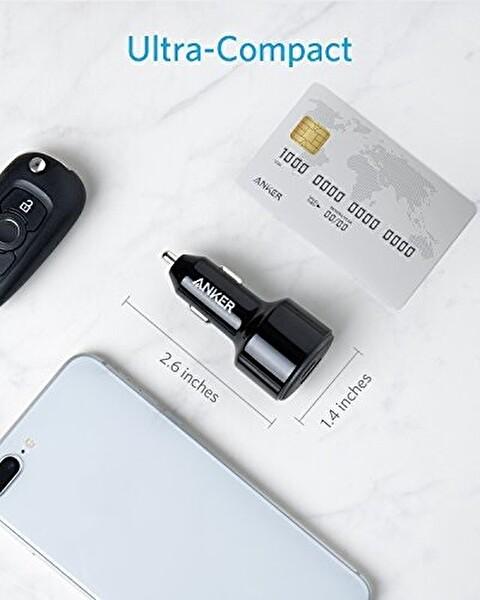 Anker Powerdrive II USB-C PD + USB GİRİŞLİ PowerIQ 2.0 Hızlı Araç Şarj Cihazı