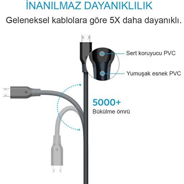 Anker Powerline Micro Şarj Kablosu 1.8M Gri