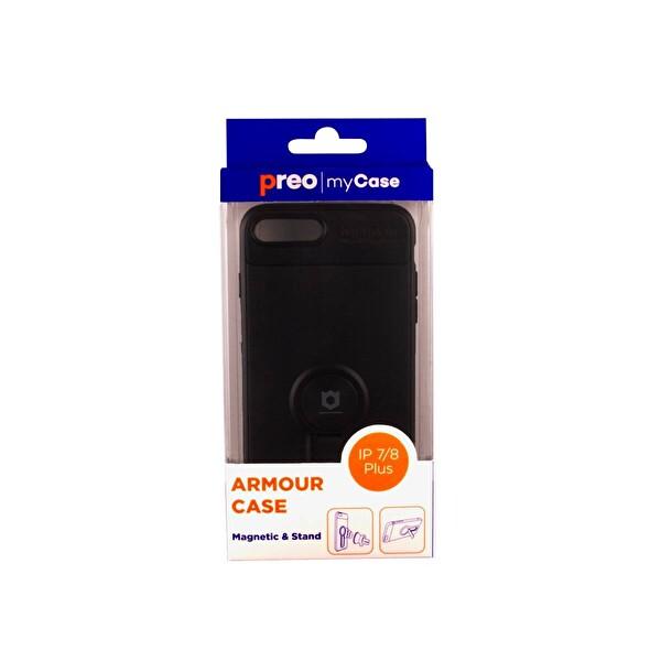 PREO MY CASE ARMOUR STAND IPHONE 7/8 PLUS SİYAH STAND&MANYETİK TELEFON KILIFI