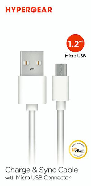 Naztech Hypergear 1.2M Micro USB Beyaz Kablo