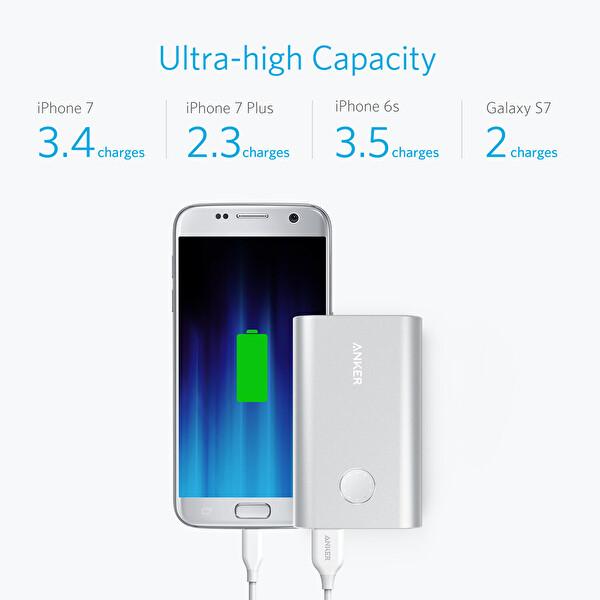 Anker Powercore+ 10.050 mAh Quick Charge 3.0 Taşınabilir Şarj Cihazı - Gümüş