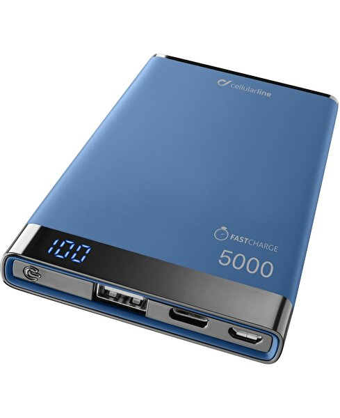 Cellularline 5.000 mAh Mavi Type-C Taşınabilir Şarj Cihazı