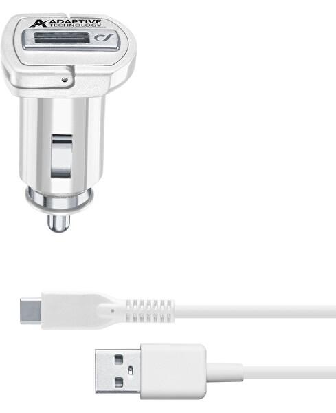 Cellularline Beyaz Type-C Araç Şarjı 15W(Kablo+Adaptör)