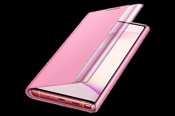Samsung Galaxy Note 10 Clear View Kılıf - Pembe