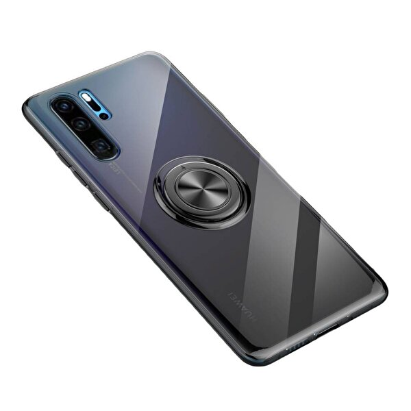 Preo My Case Huawei P30 Lite Armour Rings Şeffaf/Siyah 3 in 1 Sstand&Manyetik&Rings Telefon Kılıfı